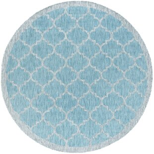 Quintin Contemporary Geometric Aqua Indoor/Outdoor Area Rug