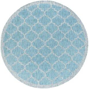Quintin Contemporary Geometric Aqua Indoor/Outdoor Area Rug