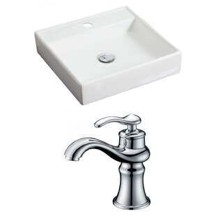 Compare prices Ceramic 18 Wall Mount Bathroom Sink with Faucet ByAmerican Imaginations