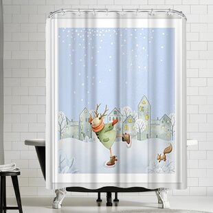 Grab My Art Merry Christmas Ice Skating Deer And Squirrel Are Having Winter Fun Single Shower Curtain