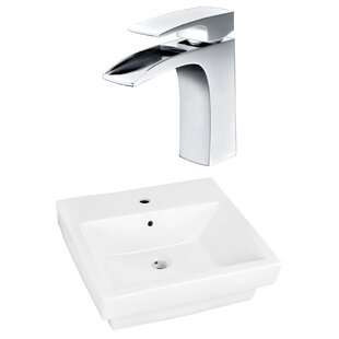 Compare Above Counter Ceramic Rectangular Vessel Bathroom Sink with Faucet and Overflow ByRoyal Purple Bath Kitchen