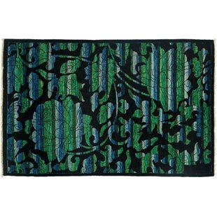 Inexpensive One-of-a-Kind Arts and Crafts Hand-Knotted Black Area Rug By Darya Rugs