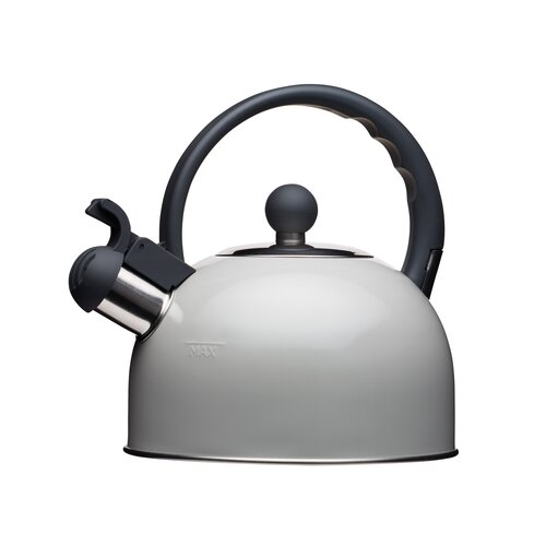 Living Nostalgia 1.4L Stainless Steel Whistling Stovetop Kettle KitchenCraft Colour: Grey