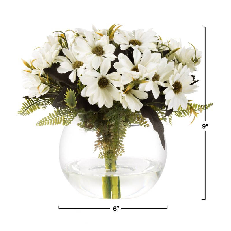 Charlton Home Daisy Floral Arrangement In Glass Vase Reviews Wayfair
