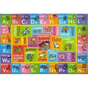 Perreira ABC Alphabet Green/Pink Indoor/Outdoor Area Rug