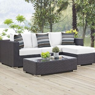 Ryele 3 Piece Rattan Sectional Set with Cushions By Latitude Run