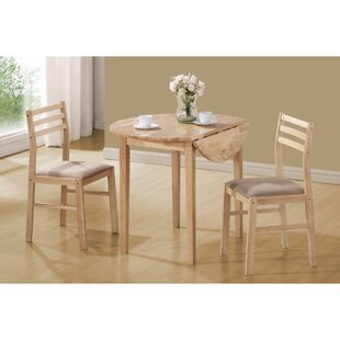 Karns Sophisticated 3 Piece Extendable Breakfast Nook Solid Wood Dining Set