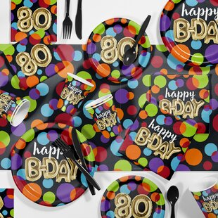 Balloon 80th Birthday Party Paper/Plastic Supplies Kit (Set of 81)