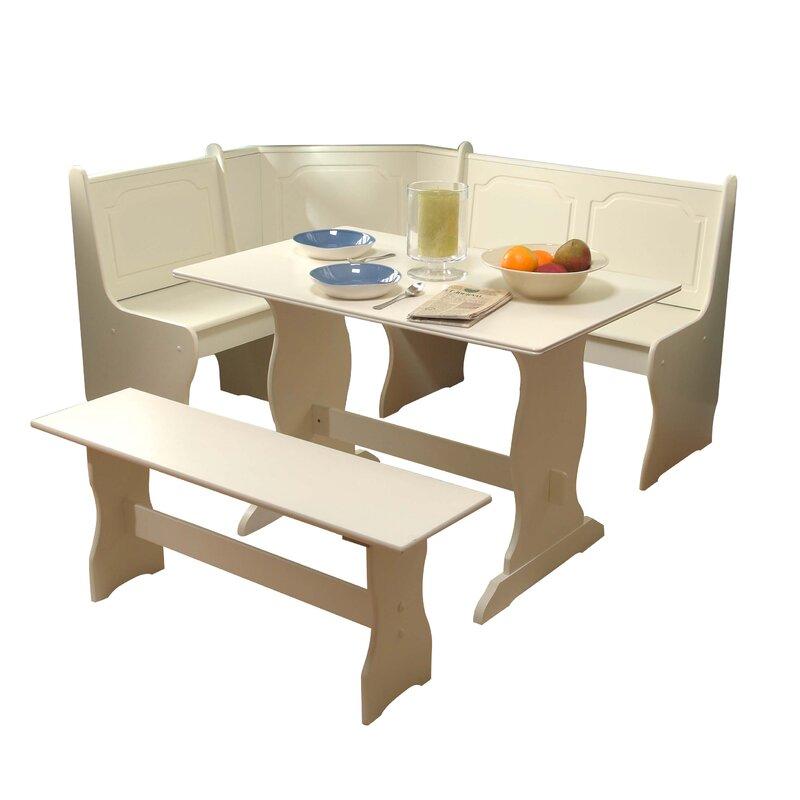 Antique White Breakfast Nook 3-Piece Corner Dining Set