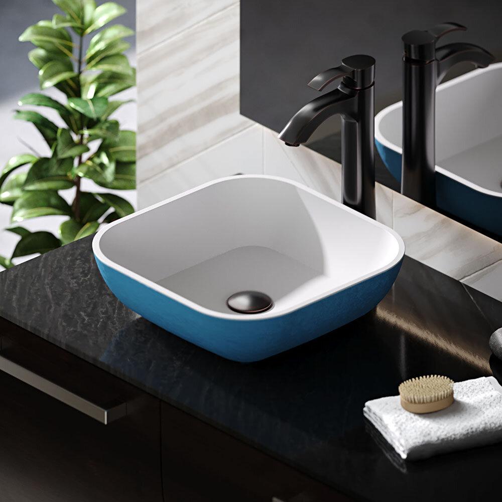René Stone Square Vessel Bathroom Sink With Faucet Wayfair