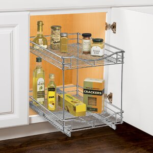 Roll Out Double Shelf - Pull Out Two Tier Sliding Under Cabinet Organizer - 11 inch wide x 18 inch deep - Chrome