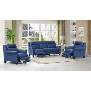 HYDELINE Dolce Reclining Leather 3 Piece Living Room Set