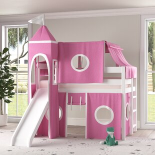 Aisling Castle Twin Low Loft Bed with Slide and Tent by Zoomie Kids