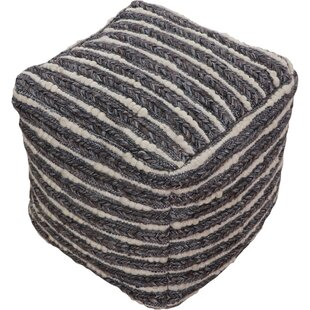 Brimmer Jute, Polyester, Wool Smokey Gray Pouf by Union Rustic