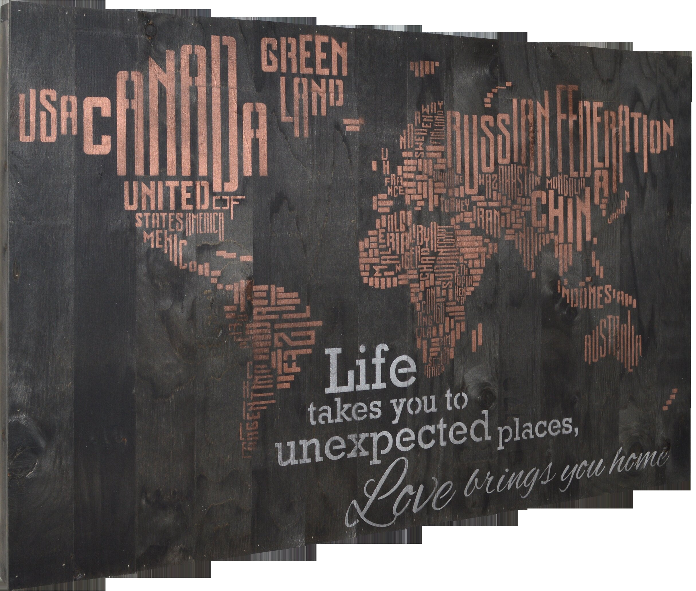 Winston Porter World Map Life Takes You To Unexpected Places Love Brings You Home Textual Art Reviews Wayfair