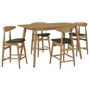 Bufford 5 Piece Counter Height Solid Wood Dining Set
