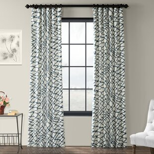 Decker Leite Printed Cotton Twill Abstract Room Darkening Thermal Rod Pocket Single Curtain Panel by Modern Rustic Interiors