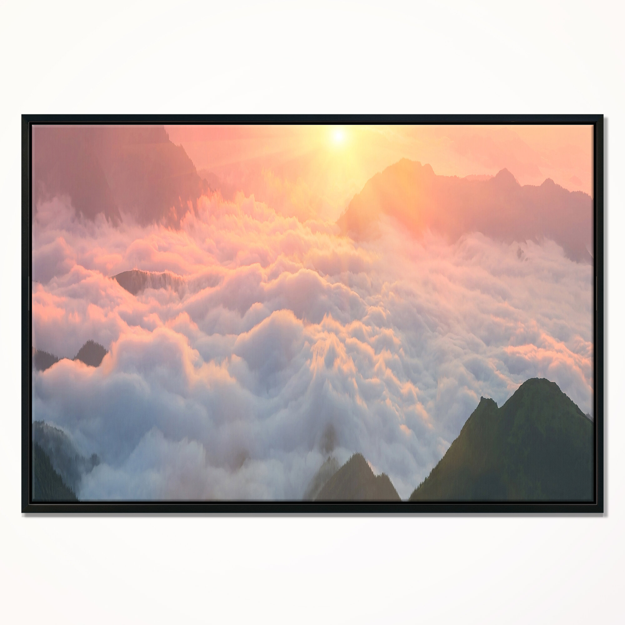 East Urban Home Heavy Fog In Mountains Panorama Framed Photographic Print On Wrapped Canvas Wayfair