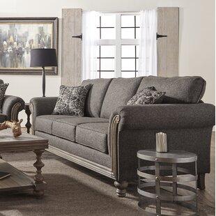 Hubbert Contemporary Textured Fabric Wood Frame Standard Sofa