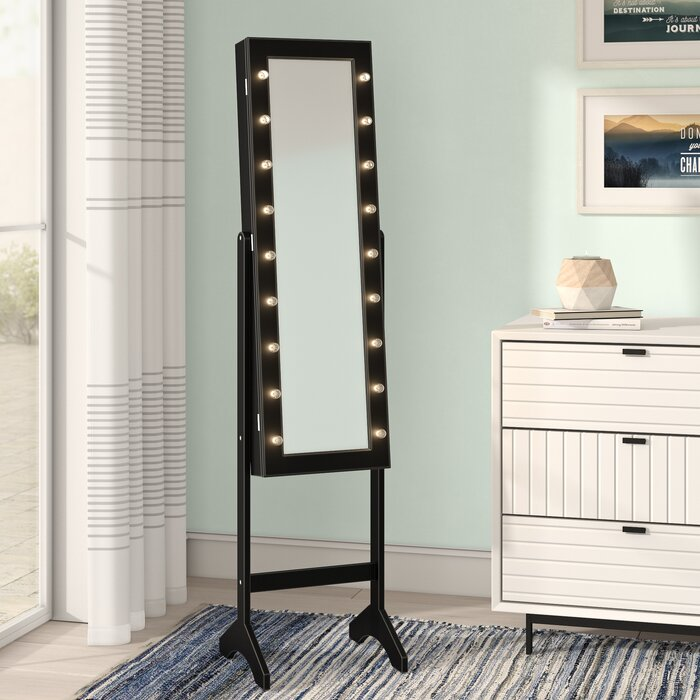 Bowen Free Standing Jewelry Armoire With Mirror