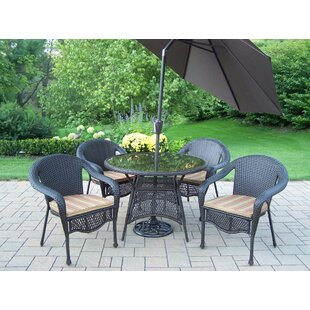 Oakland Living Elite Resin Wicker 5 Piece Dining Set with Cushions and Umbrella