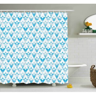 Karns Modern Geometric Contemporary Shapes Triangle Line With Clear Cloud Backdrop Image Single Shower Curtain