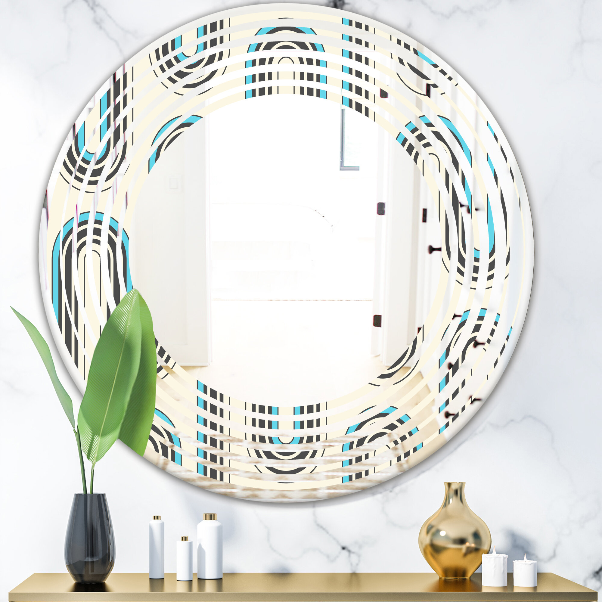 East Urban Home Geometrical Abstract Minimal Pattern Iv Wave Modern Contemporary Frameless Wall Mirror Wayfair