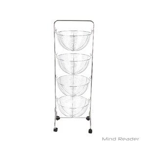 4 Tier Wire Rolling Kitchen Cart by Mind Reader