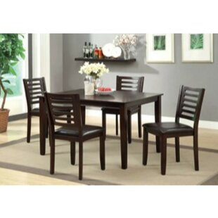 Tincher 5 Piece Solid Wood Dining Set
