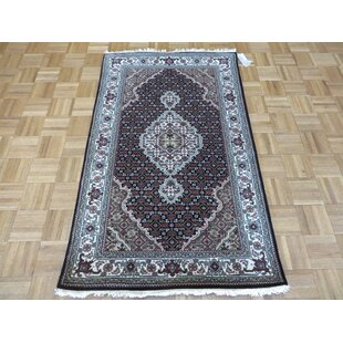 Find for One-of-a-Kind Beaton Hand-Knotted Wool Black Area Rug By Isabelline