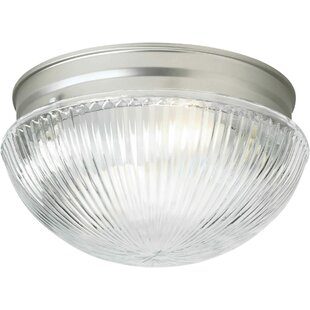 Winston Porter Villalba 1-Light Flush Mount - Ribbed Glass