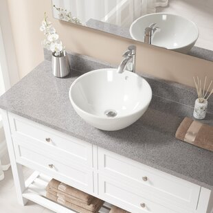 Find Vitreous China Circular Vessel Bathroom Sink with Faucet and Overflow By MR Direct