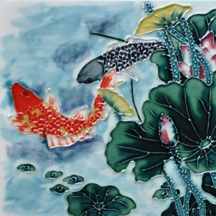 Aspen Lotus Koi in Blue Tile Wall Decor