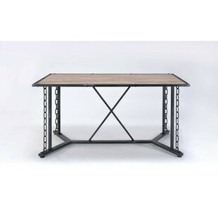 Cambron Industrial Rectangular Solid Wood Dining Table
