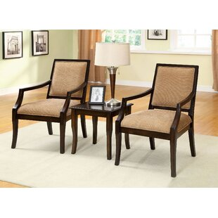 Castrejon 3 Piece Solid Wood Dining Set b..