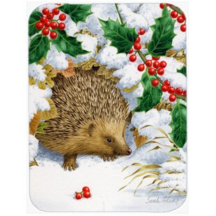 Bargain Hedgehog and Holly Glass Cutting Board By Caroline's Treasures