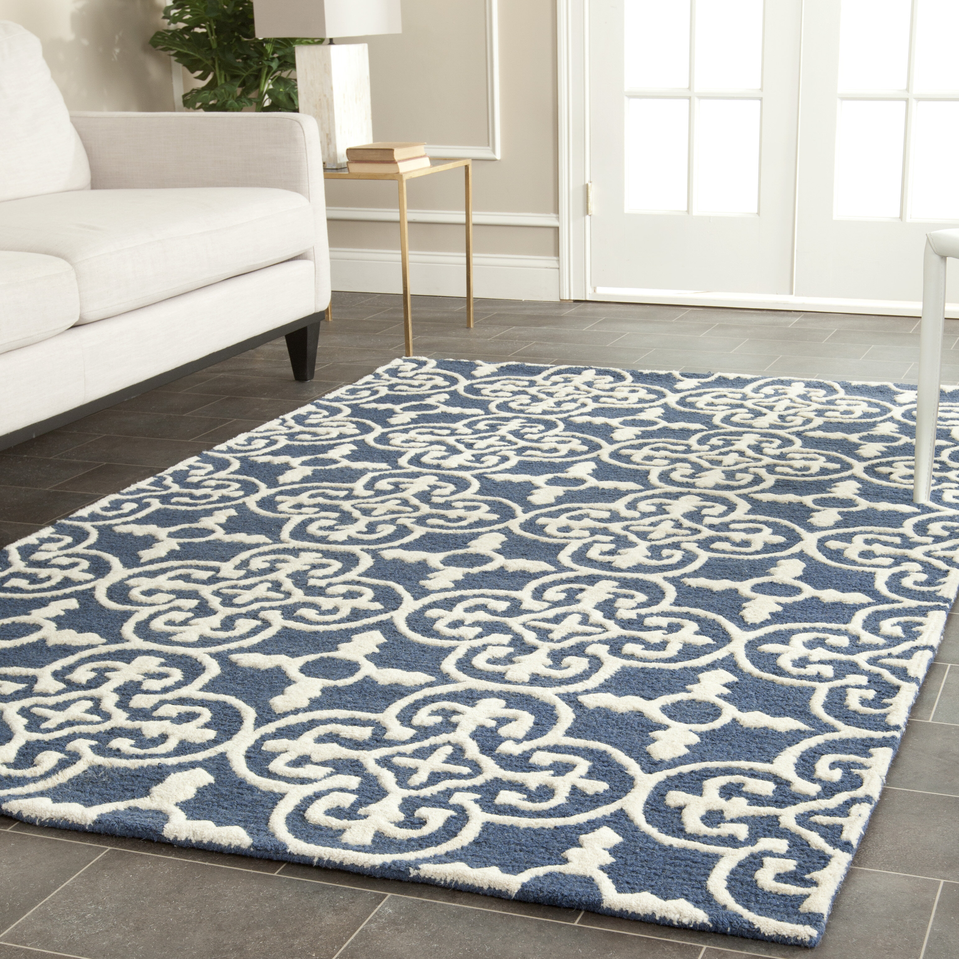 Byron Navy Blue Ivory Tufted Wool Area Rug & Reviews