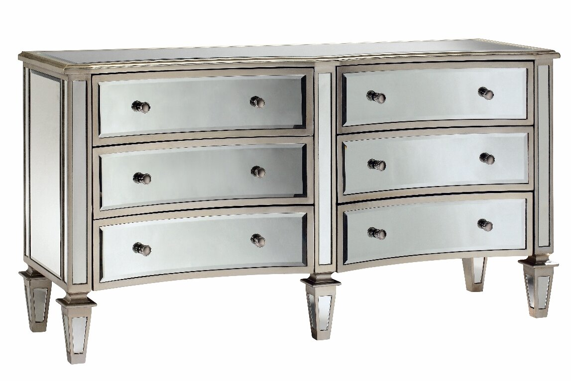 Fair Haven Bow Front 6 Drawer Mirrored Chest