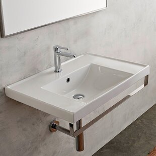 Big Save ML Ceramic 37 Wall Mount Bathroom Sink with Overflow By Scarabeo by Nameeks