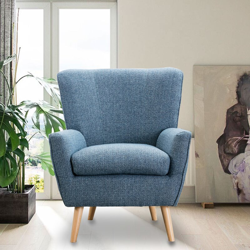 George Oliver Fabric Armchair For Bedroom Contemporary Accent Chair For Living Room Reading Chair 26 X 25 4x 37 Inch Grey Wayfair Ca