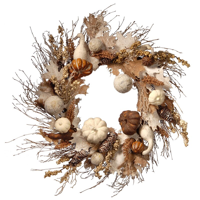 The Holiday Aisle Accent Autumn 28 Plastic Wreath Reviews Wayfair