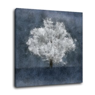 88b4323b3 'Absolutely One Framed in Blue/GrayBlue Gray White Tree Contemporary  Modern' Graphic Art Print on Canvas. by Winston Porter