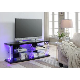 Bolick LED TV Stand in White and Clear Glass by Orren Ellis