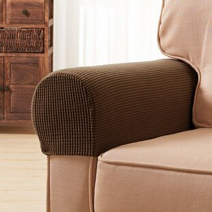 Jacquard Spandex Stretch Box Cushion Armrest Slipcover (Set Of 2) By Symple Stuff
