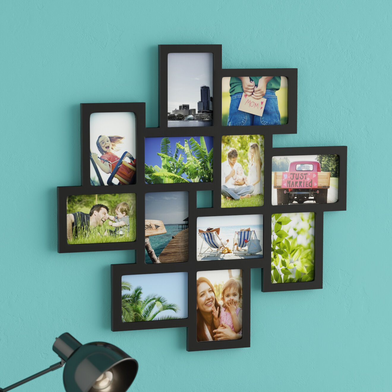 Nordman 12 Opening Decorative Wood Photo Collage Wall Hanging Picture Frame Reviews Birch Lane