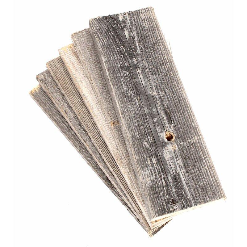 "BarnwoodUSA 24"" Reclaimed Solid Wood Wall Paneling in Gray"
