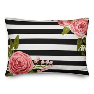 Dolphus Floral Mod Stripes Outdoor Lumbar Pillow
