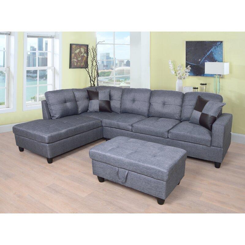Ebern Designs Almeter 103 Wide Left Hand Facing Sofa Chaise With Ottoman Reviews Wayfair
