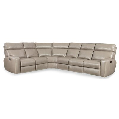 Mowry Leather Reclining Sectional Hooker Furniture Upholstery: Beige
