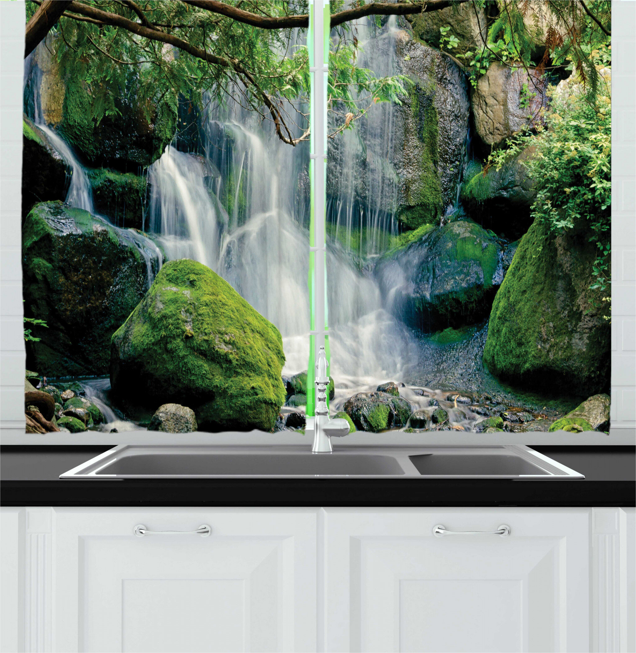 East Urban Home 2 Piece Nature Scene Natural Waterfall Flows On Rocks With Moss Woodland In Minnesota Kitchen Curtain Set Wayfair